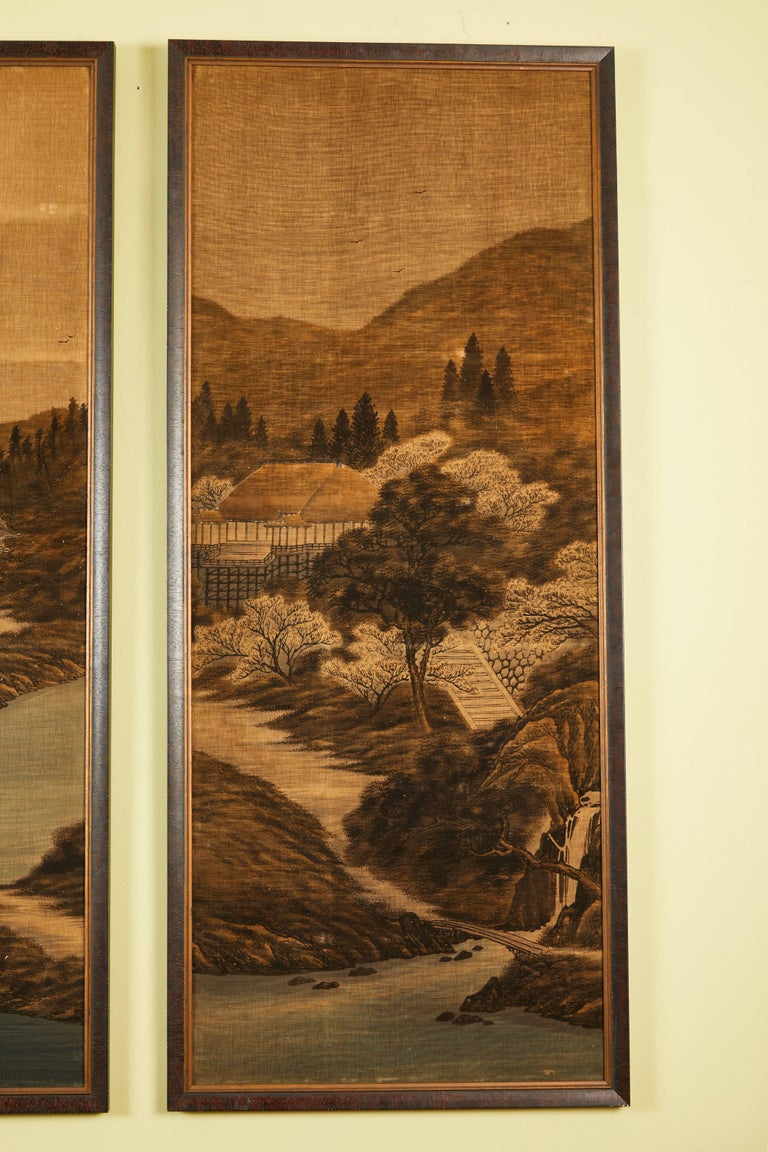 Japanese Painted and Voided Velvet Textile Panels In Good Condition For Sale In Los Angeles, CA