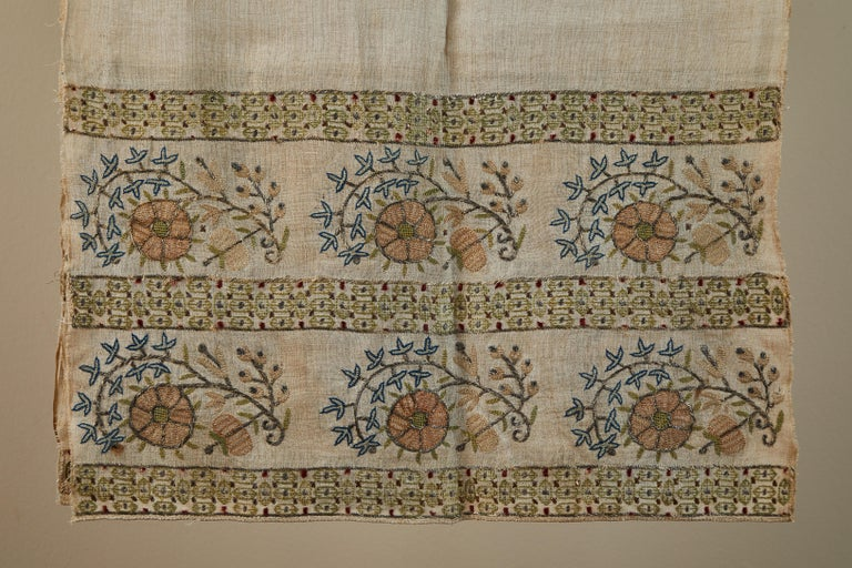 Antique ottoman embroidered towel. Unusual large size. Double-sided silk and metallic thread on sheer, hand woven linen. Peach, blue and green on natural linen.