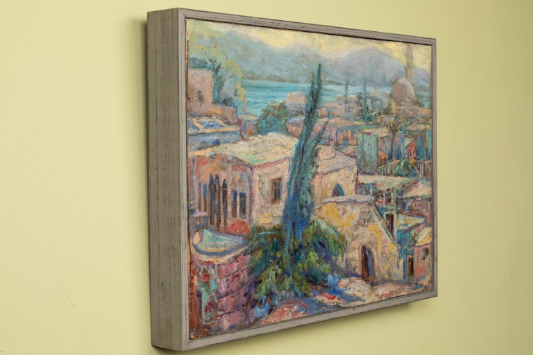 North African Waterfront Painting In Good Condition For Sale In Los Angeles, CA