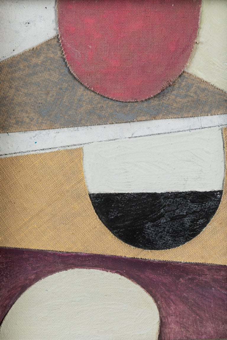 Small English Circle Collage on Canvas In Good Condition For Sale In Los Angeles, CA