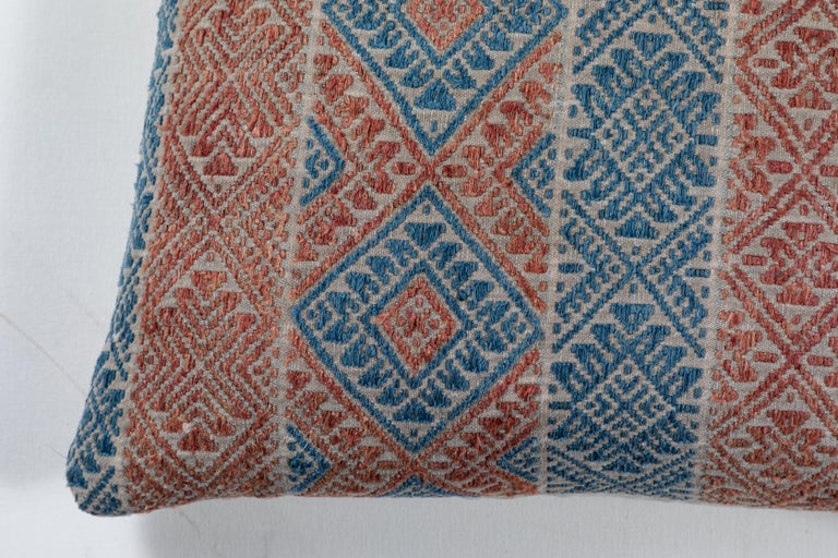 """Hand-loomed cotton brocade """"marriage quilt"""" Hmong Tribal textile. Backed with natural linen, feather and down fill, invisible zipper."""