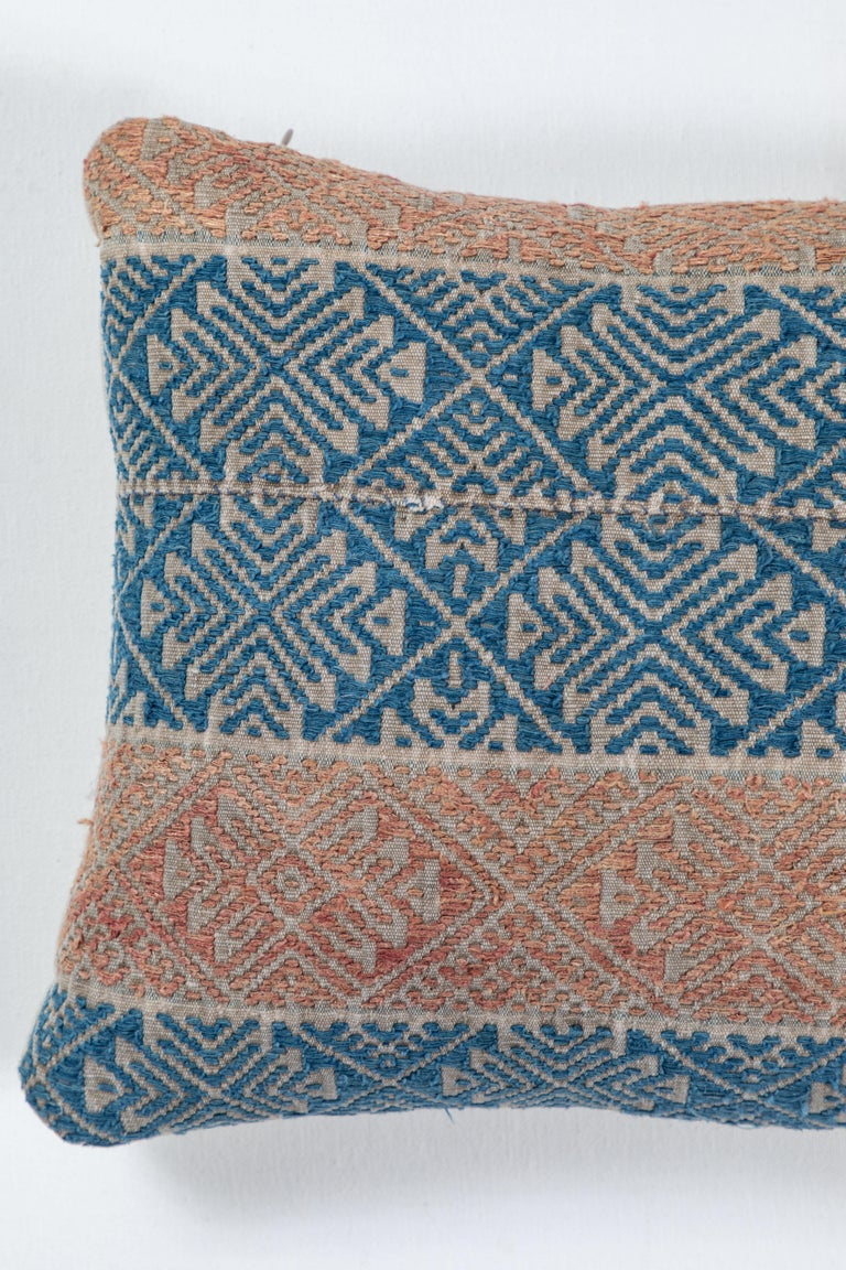 """Hand loomed cotton brocade """"marriage quilt"""" Hmong Tribal textile. Backed with natural linen, feather and down fill, invisible zipper."""