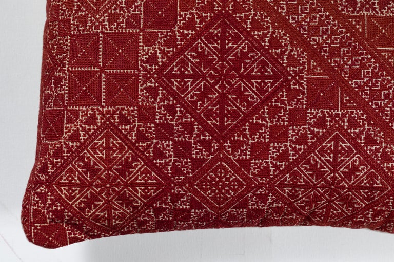 Antique Moroccan textile from the city of Fez. Intricate all-over silk floss on linen embroidery produces a durable fabric. Unusual larger size.   The designs are based on centuries old Mehindi (henna hand tattoo) designs. Natural linen back.