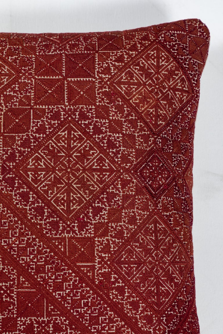 Embroidered Antique Moroccan Fez Embroidery Pillow For Sale