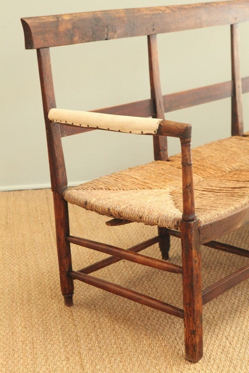 Antique French Bench With Rush Seat At 1stdibs