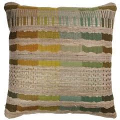 Indian Handwoven Pillow in Orange, Green, Brown, Blue and Beige