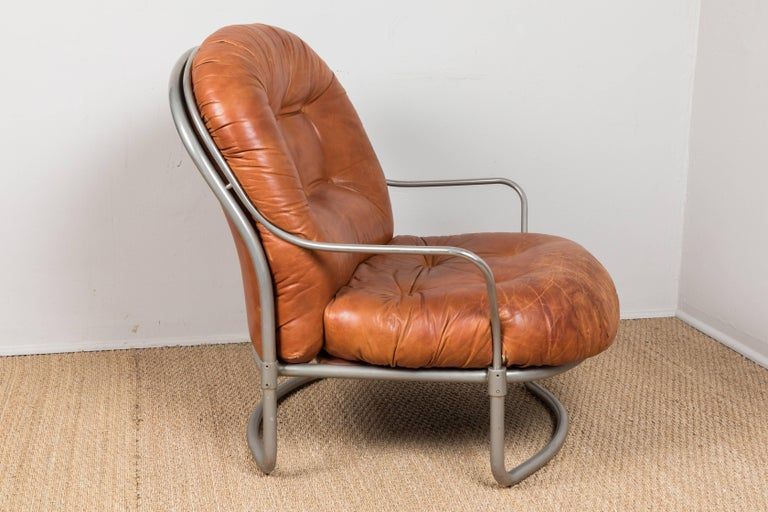 French 1969 Carlo DiCarli Chair and Ottoman For Sale