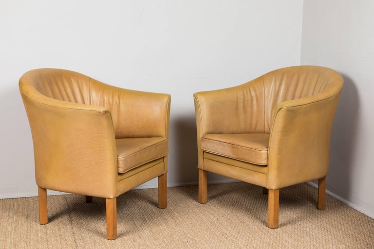 American Vintage Leather Occasional Chairs For Sale