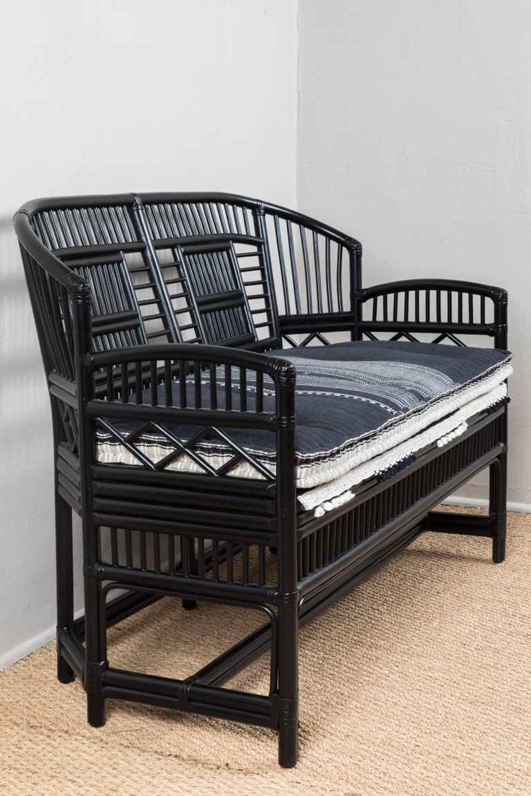 Vintage Black Rattan Loveseat with Injiri Organic Cotton Fabric In Good Condition For Sale In Los Angeles, CA