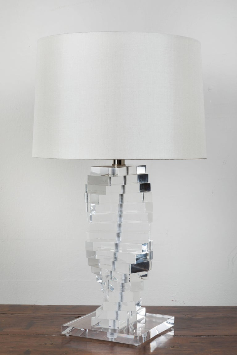Polished MidCentury Lucite Table Lamps  For Sale