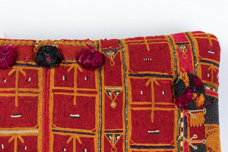 Hand-Woven Afghani Pashtun Embroidery Pillow For Sale