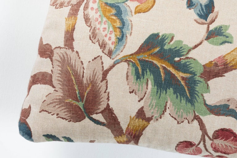Vintage American linen print pillow.  Natural linen back, feather and down fill and an invisible zipper closure.