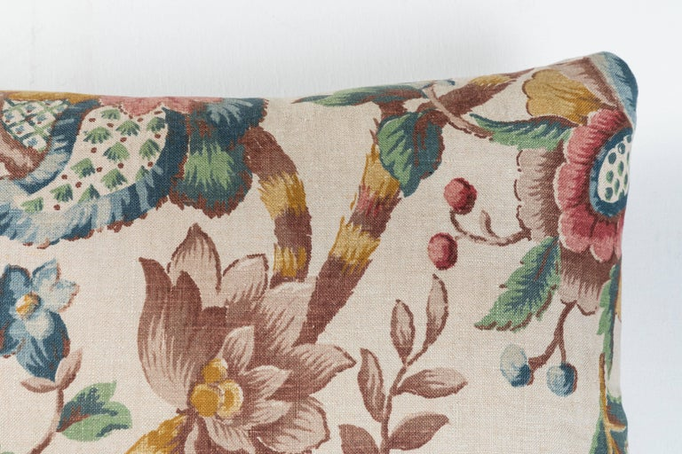 American Vintage Linen Floral Pillow  For Sale