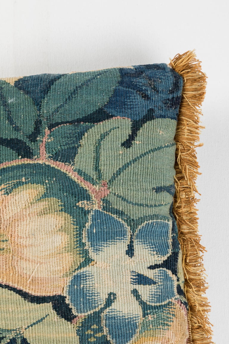 French Antique Verdure Tapestry Pillow For Sale