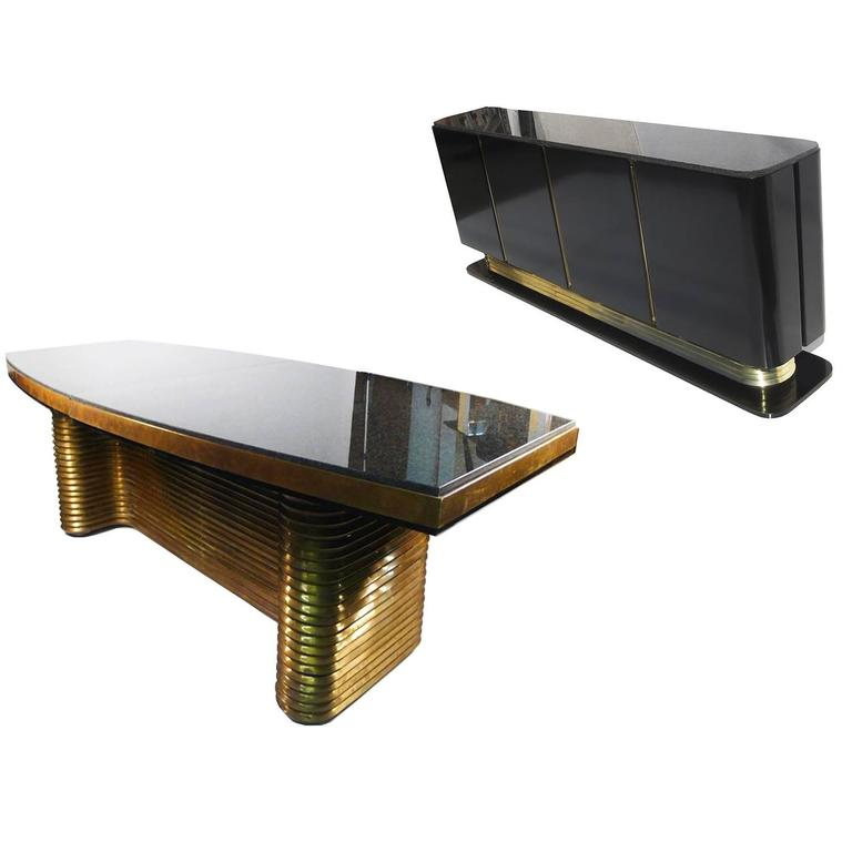 Incredible Custom Brass and Granite Dining Table & Credenza by Edward Moore