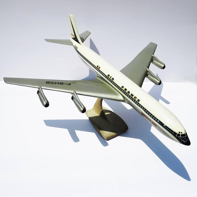 Air France Painted Metal Boeing 707 Desk Model 3