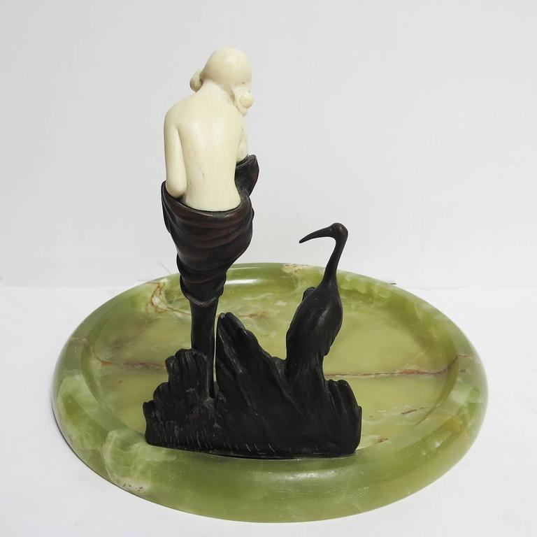 Art Deco Bronze and Onyx Ashtray by J. Ulrich, Austria 4