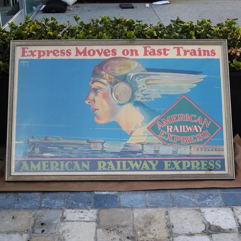Framed American Railway Express Art Deco Train Travel Poster 2