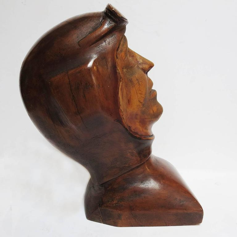 American Stylized Art Deco Carved Bust of Aviator For Sale