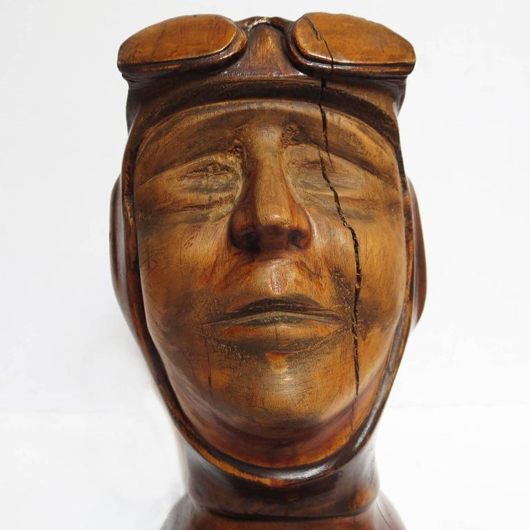 Hand-Carved Stylized Art Deco Carved Bust of Aviator For Sale
