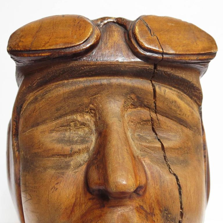 Stylized Art Deco Carved Bust of Aviator For Sale 2