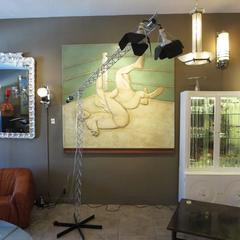 Curtis Jere Large Size Crane Standing Lamp, Signed 1977