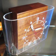 "Lackner ""Curvaline"" Neon Desk Clock in Lucite and Mahogany"