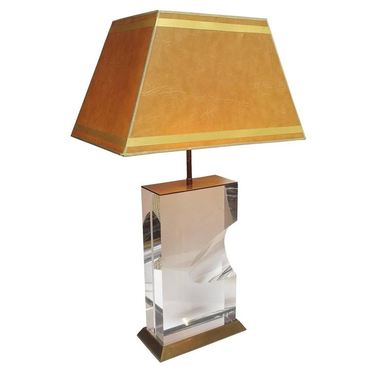 Mid-Century Modern Lucite and Brass Lamps Signed Jeffrey Bigelow, 1991 For Sale