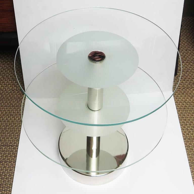 Art Deco Glass and Steel Side Tables in the Manner of Gio Ponti 3