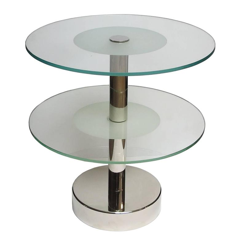 Art Deco Glass and Steel Side Tables in the Manner of Gio Ponti 2