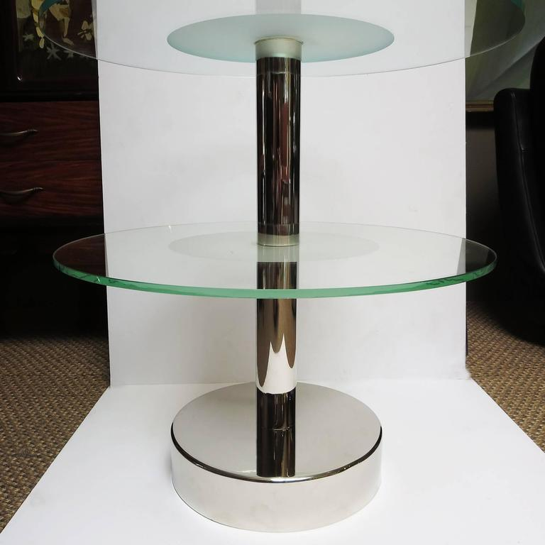 Art Deco Glass and Steel Side Tables in the Manner of Gio Ponti 4
