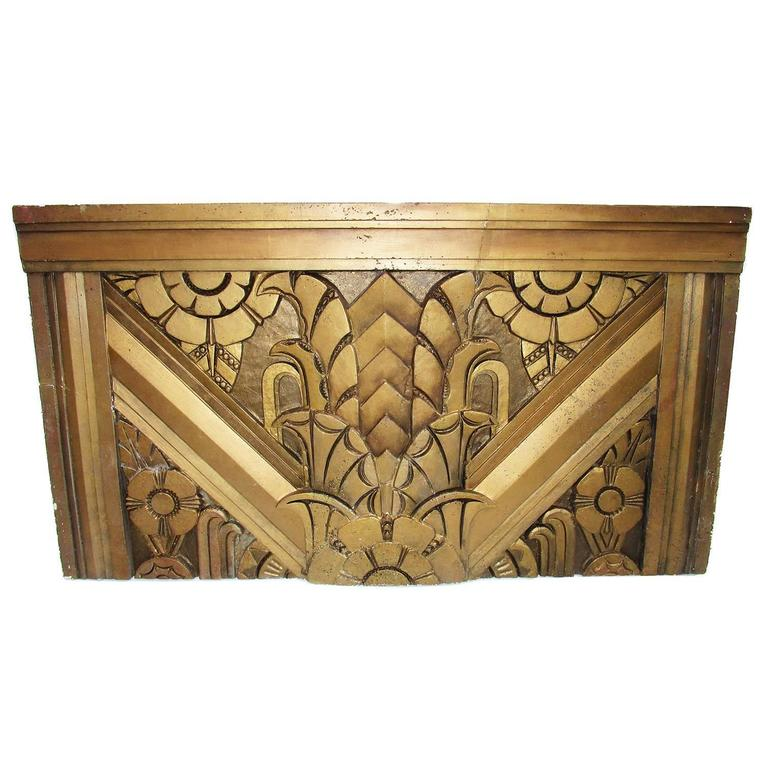 Molded Art Deco Architectural Gilded Aggregate Panels For Sale