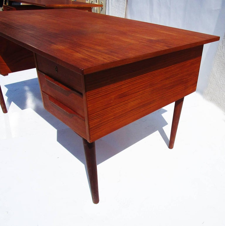 Danish Mid-Century Modern Teak Desk with Bookcase Front 3