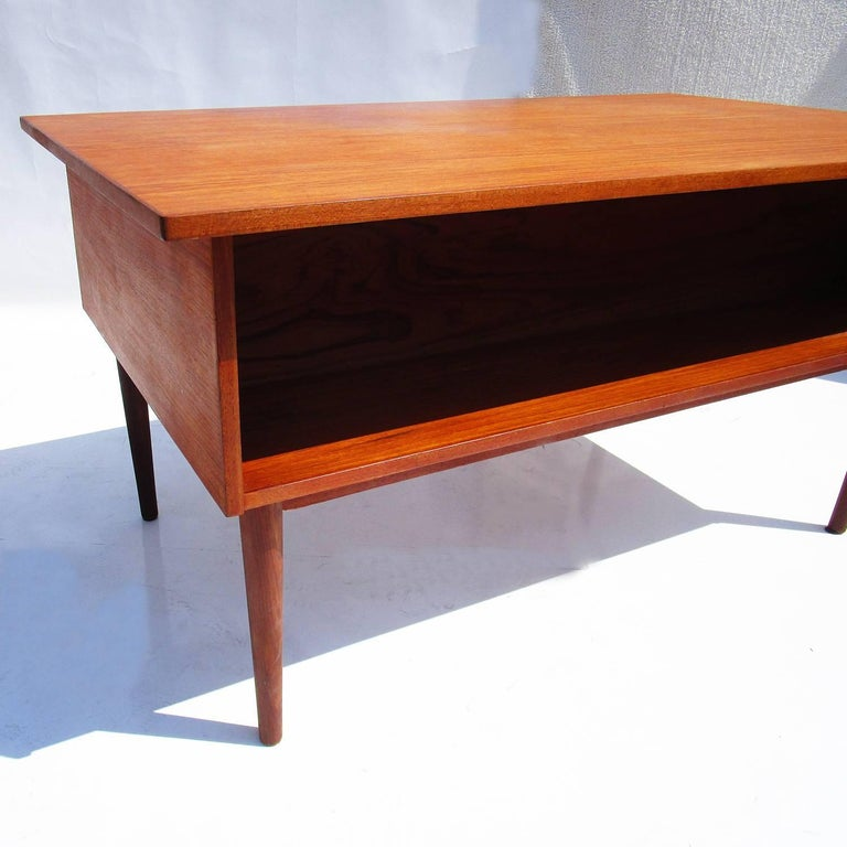 Danish Mid-Century Modern Teak Desk with Bookcase Front 4