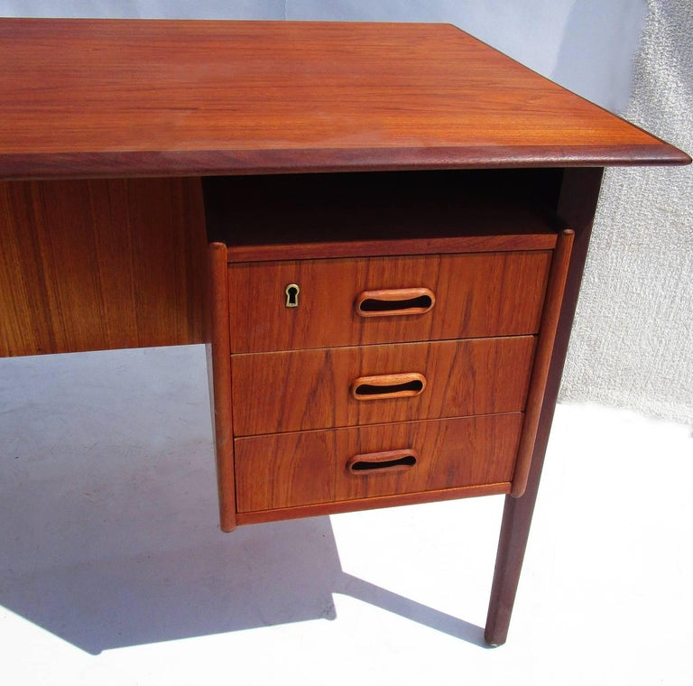 Danish Modern Teak Desk with Bookcase Front 2