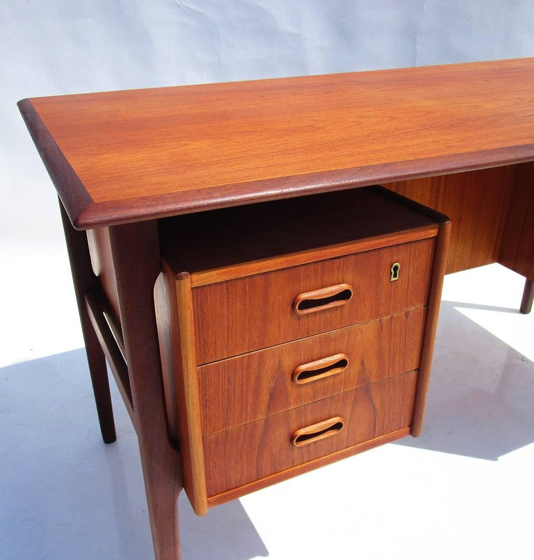 Danish Modern Teak Desk with Bookcase Front 3