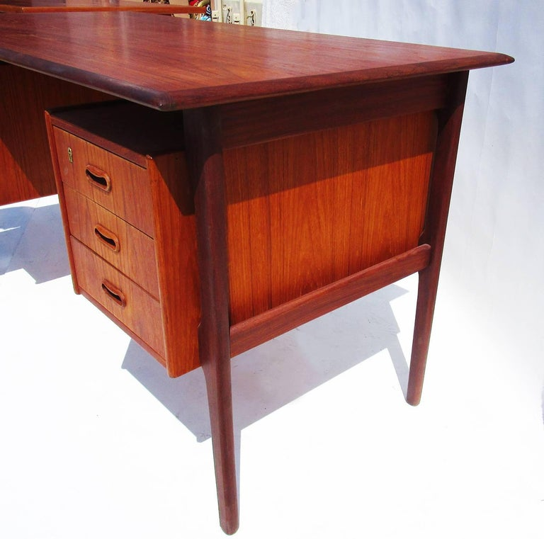 Danish Modern Teak Desk with Bookcase Front 4