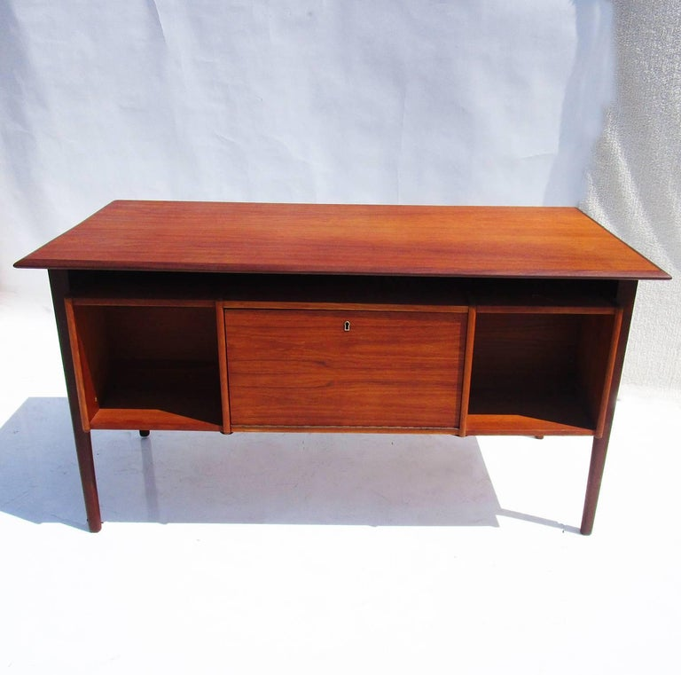Danish Modern Teak Desk with Bookcase Front 5