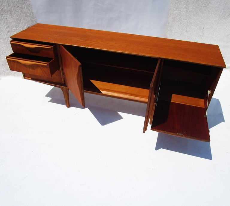 Danish Mid-Century Modern Teak Sideboard In Fair Condition For Sale In Los Angeles, CA
