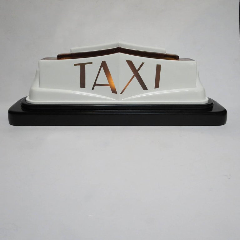 1930s Art Deco Molded Glass Taxi Cab Top Light 2