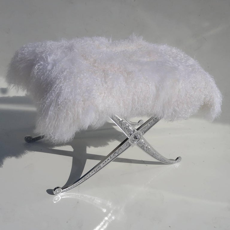 Hollywood Regency Style Bench in Polished Aluminum and Silky Fur 2