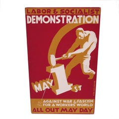 1930s Socialist May Day Demonstration Poster by Rebel Arts Group, New York