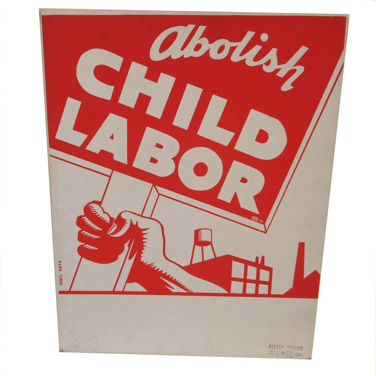 1939 Socialist Child Labor Poster by Rebel Arts Group, New York 1