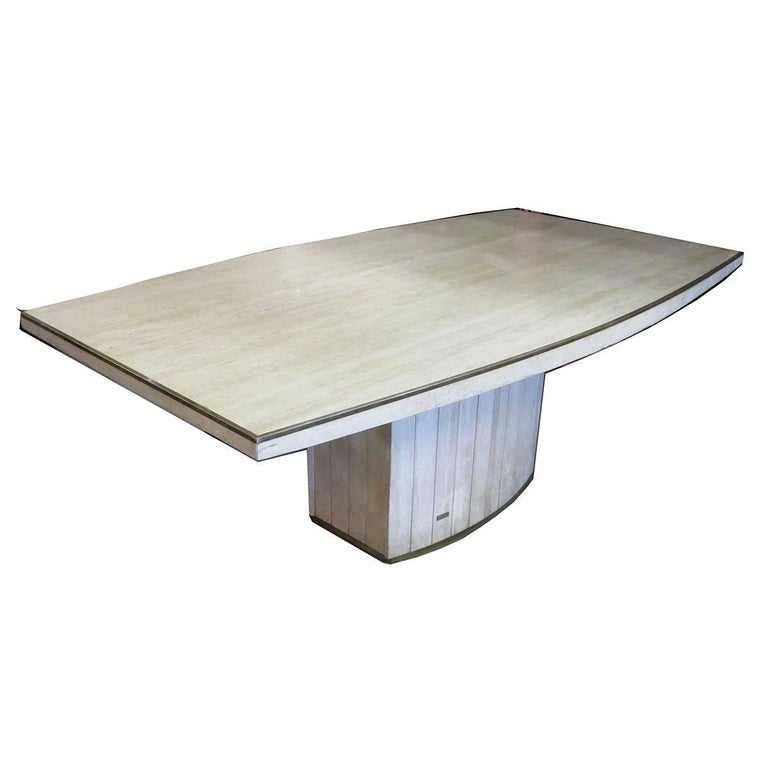 Travertine Dining Table by Willy Rizzo for Jean Charles, 1970 For Sale