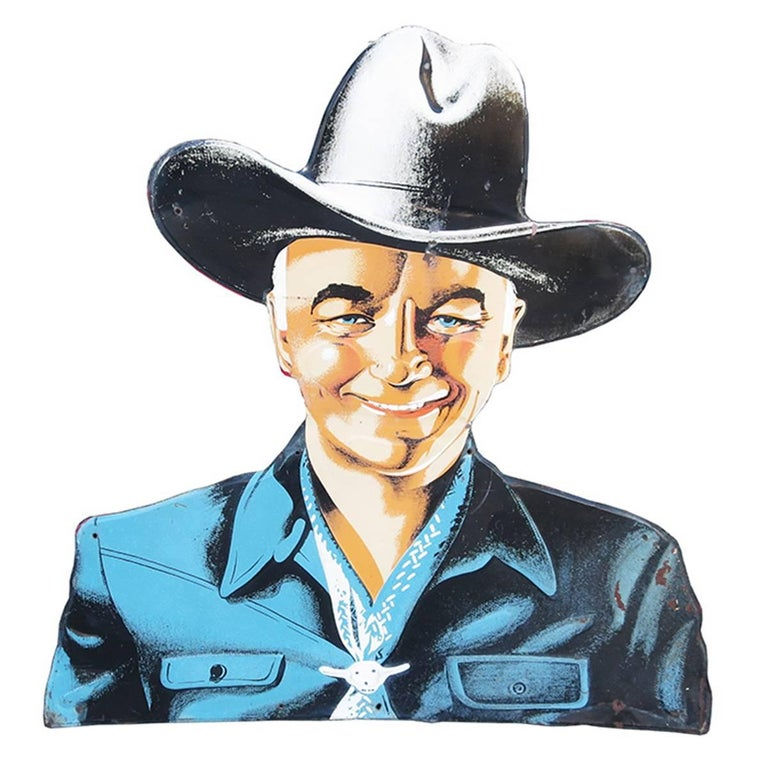 Hopalong Cassidy 1950s Tin Sign for Bond Bread For Sale