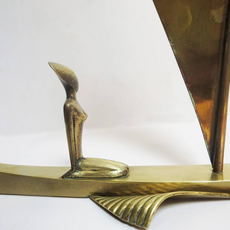 Mid-20th Century Art Deco Bronze Sailboat Sculpture by Karl Hagenauer For Sale