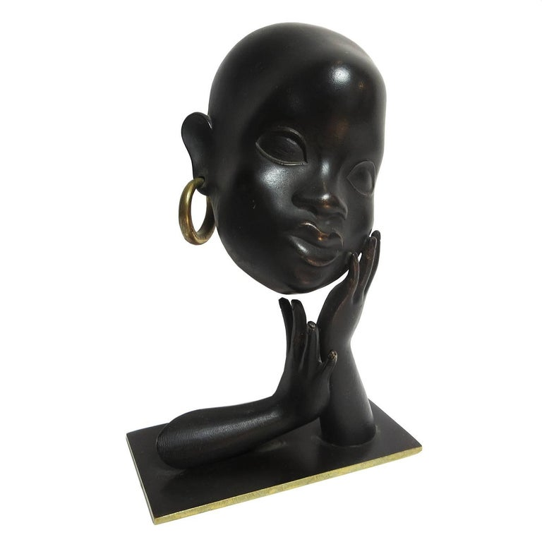 Art Deco African Head Sculpture by Karl Hagenauer For Sale