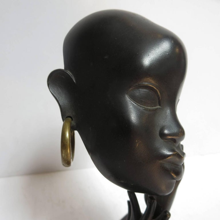 Art Deco African Head Sculpture by Karl Hagenauer In Excellent Condition For Sale In Los Angeles, CA