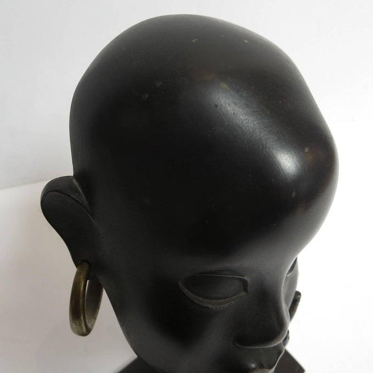 Bronze Art Deco African Head Sculpture by Karl Hagenauer For Sale