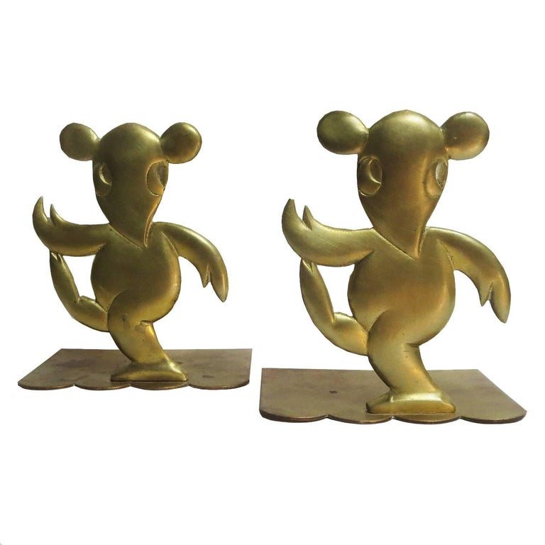 Art Deco Bronze Mouse Bookends Attributed to Hagenauer For Sale
